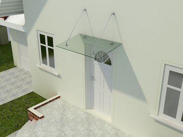 Glasvordach Olymp 90 cm tief – Bild 1