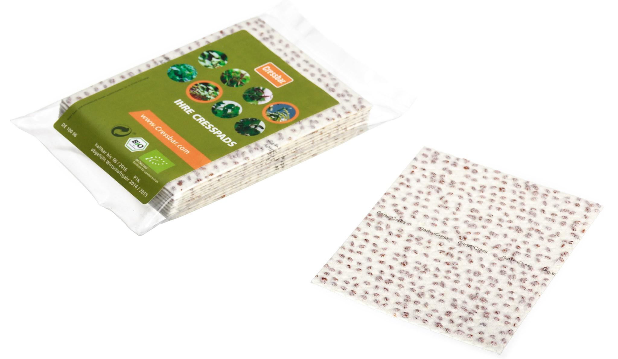 Cressbar® Cresspads – praktisches Nachfüllpack der Kresse-Einleger für frische Kresse in den Geschmacksrichtungen Radieschen, Rucola, Senf und Gartenkresse Bild 6