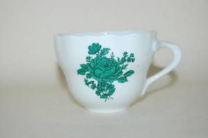 Kaffeetasse Maria grüne Blume Goldrand Hutschenreuther