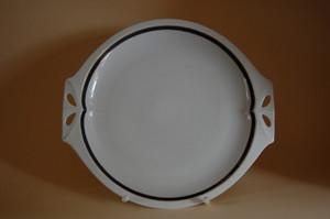 Kuchenplatte Tortenplatte Form 57 Feston schwarz gold Hutschenreuther HR Marke