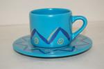 Kaffeetasse 2 tlg. blau Zacken Wächtersbach Basics