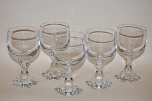 5 Weingläser Weinglas Keilschliff Gläser-Set 5-tlg. Glas unbekannt ohne Stempel