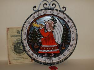 Weihnachtsteller 1977 Schmiedeeisen Keramik Weihnachtsengel Sammelteller WMF NEU + OVP