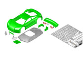 JR-GT01 Car Body Set-Green- JOMUREMA SPARE PART