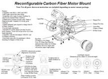 PN Alu-Motorhalter / V5 / 94mm Reconfigurable Carbon Fiber Motormount / BLAU