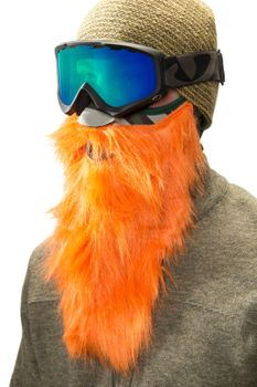 Beardski Hunter Skimaske mit Bart Orange – Bild 1