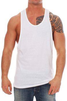 Muscle Shirt Herren Tank Top Weiß – Bild 2