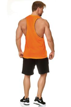 Muscle Shirt Herren Tank Top Neon Orange – Bild 2