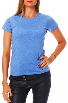 Damen T-Shirt Rundhals Meliert Comfort Bügelfrei XS-XL  – Bild 22