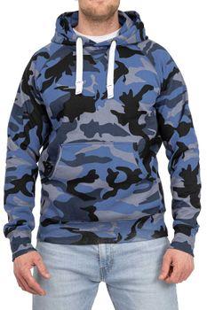 Herren Pullover Camouflage Hoodie Blau – Bild 1