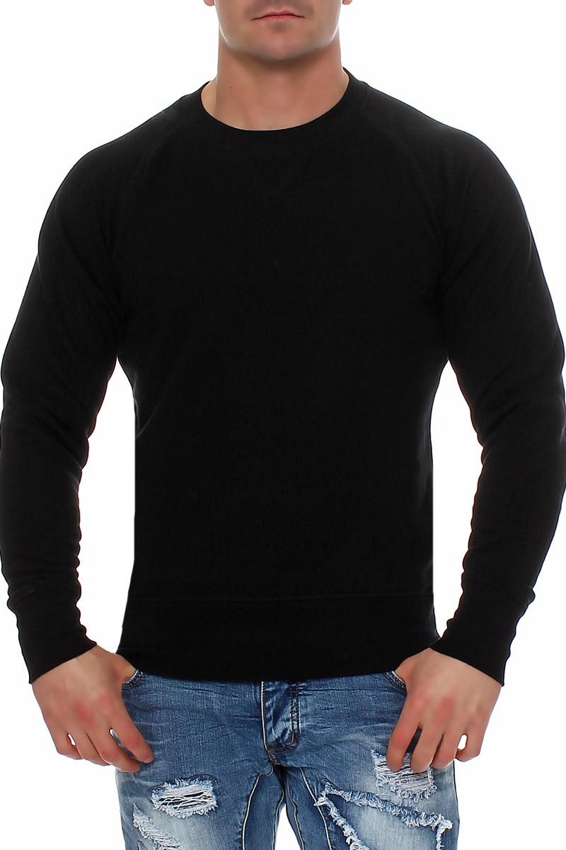 Details zu Herren Basic Pullover Pulli Sweatshirt Langarmshirt ohne Kapuze Sweater Langarm