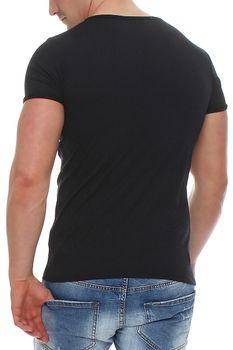 Herren T-Shirt weiter Rundhals Blau Grau Braun Underground – Bild 3
