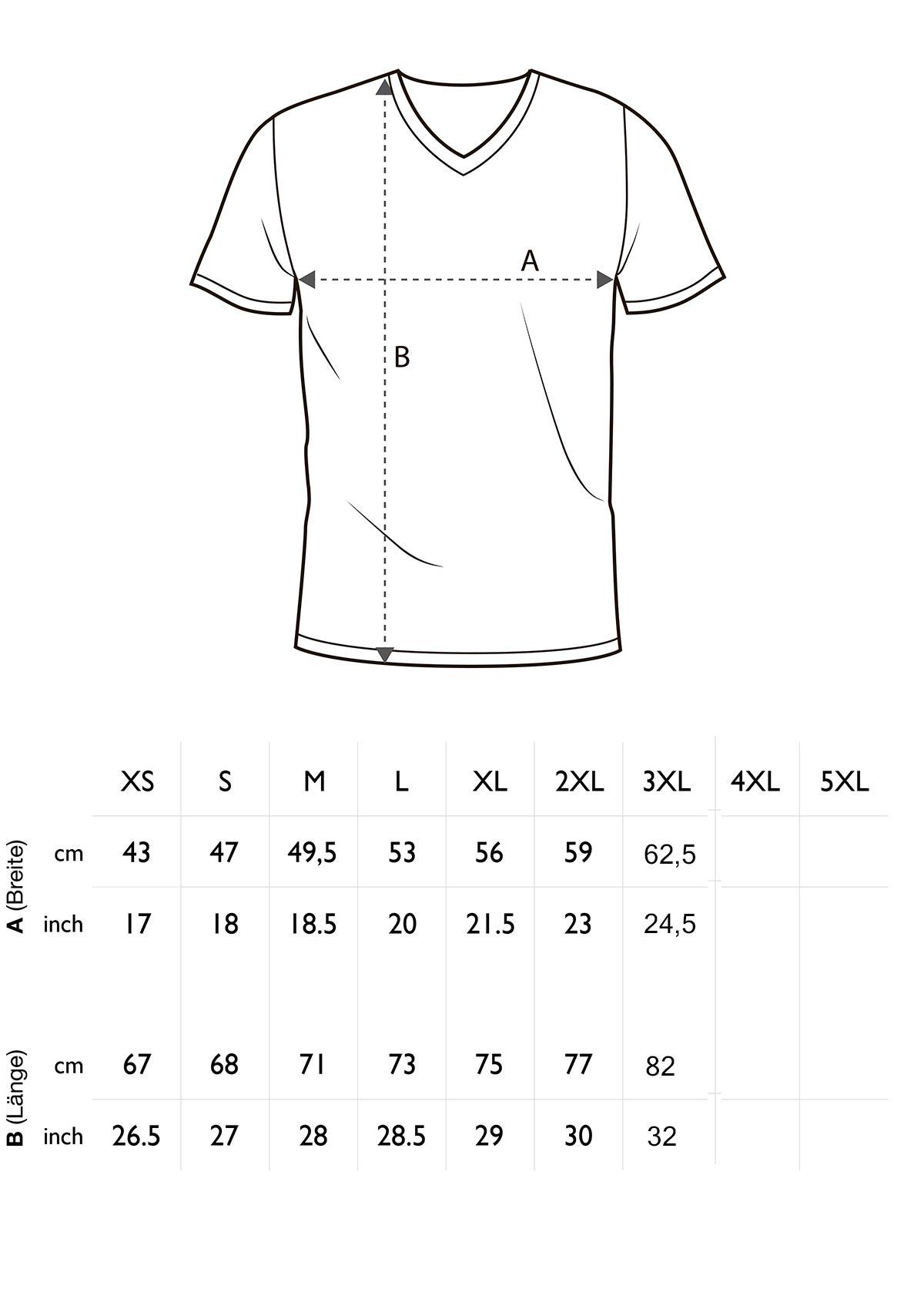 Größentabelle Herren T-Shirt V-Ausschnitt Bügelfrei