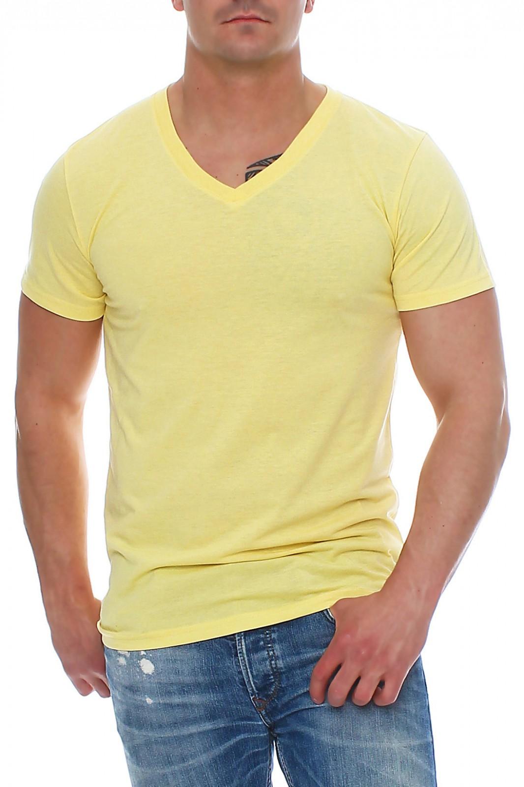 6cf98521dbd7a8 Herren T-Shirt V-Ausschnitt Meliert Comfort Bügelfrei – Bild 4
