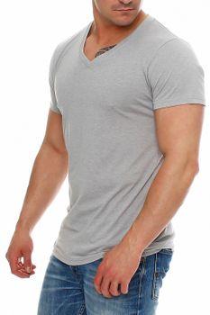 Herren T-Shirt V-Ausschnitt Meliert Comfort Bügelfrei  – Bild 14
