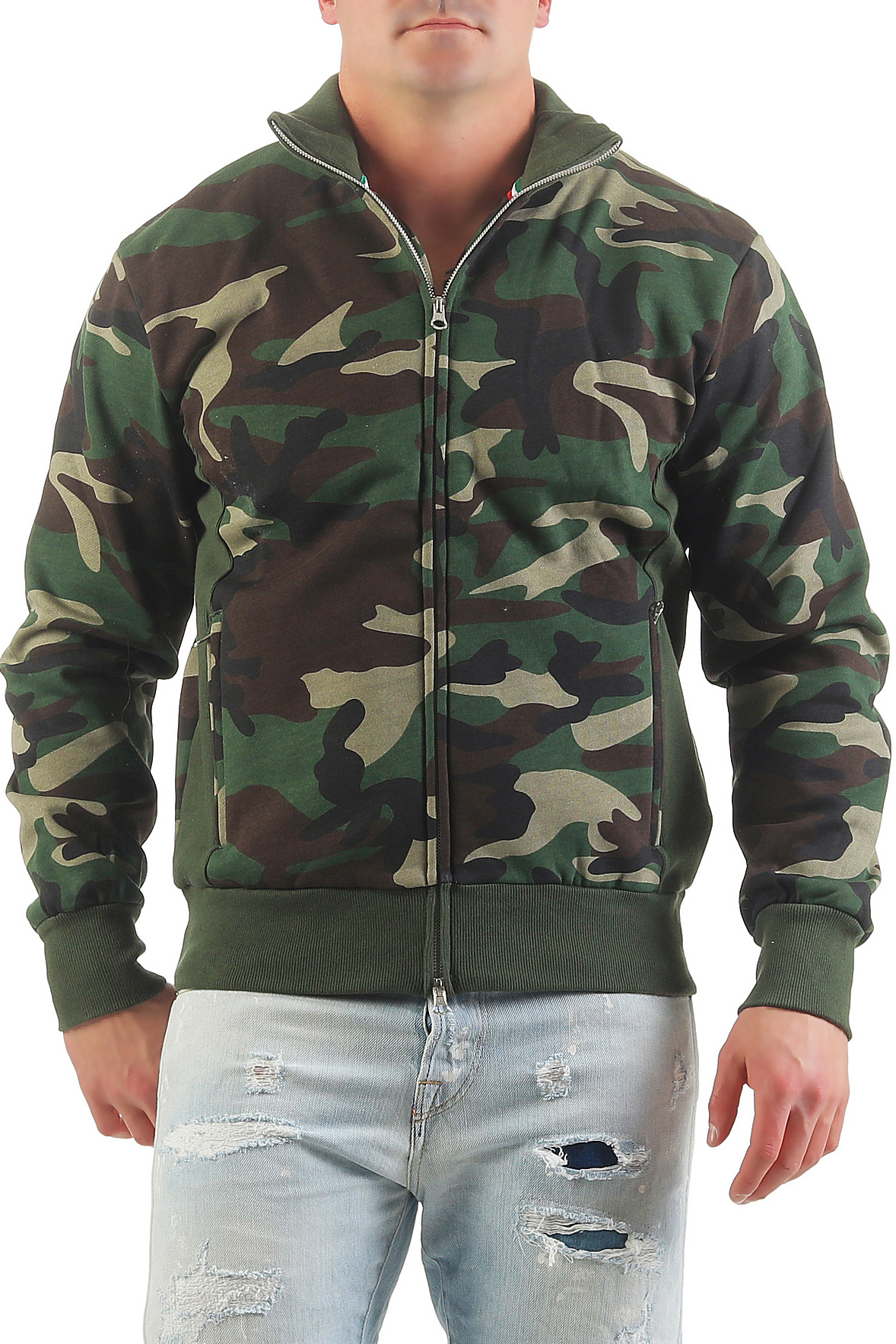 herren camouflage sweatjacke zip ohne kapuze class. Black Bedroom Furniture Sets. Home Design Ideas