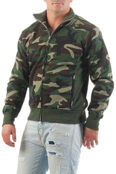 Herren Camouflage Sweatjacke Zip ohne Kapuze Class – Bild 2