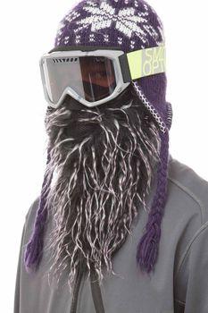 Beardski Purple Haze Skimaske mit Bart Schwarz / Lila – Bild 1