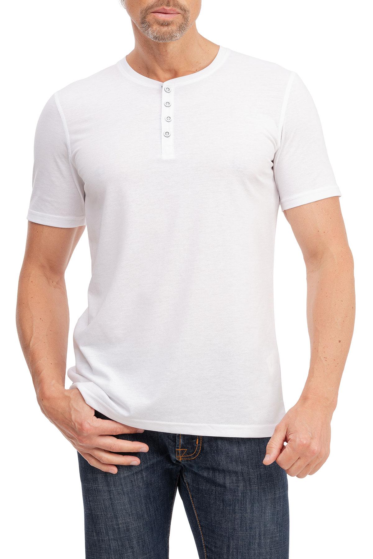 Herren kurzarm T-Shirt mit Knopfleiste Henley