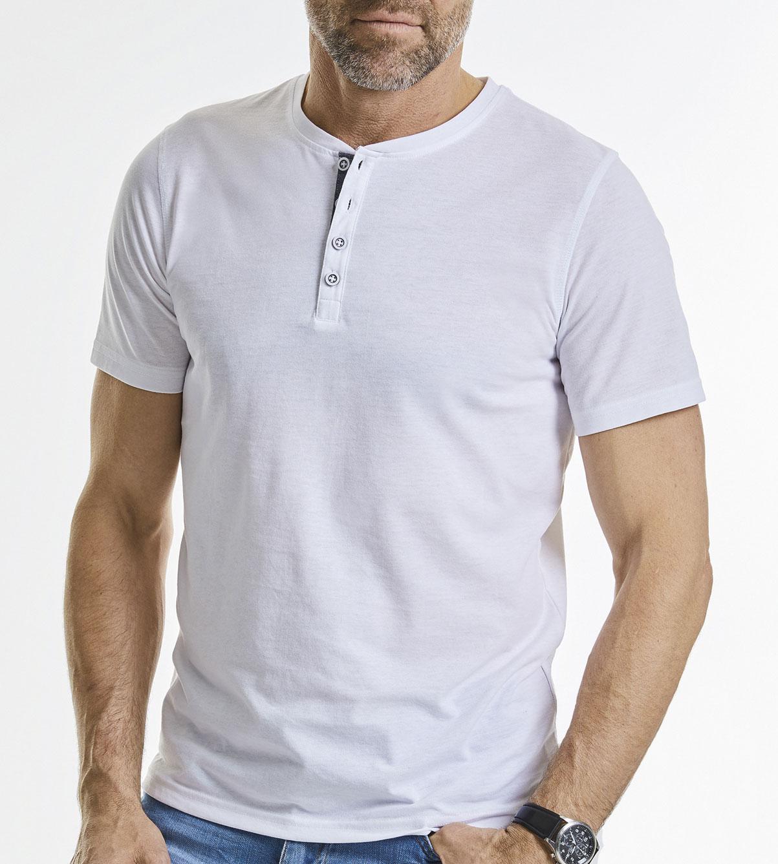 Herren kurzarm T Shirt mit Knopfleiste Henley