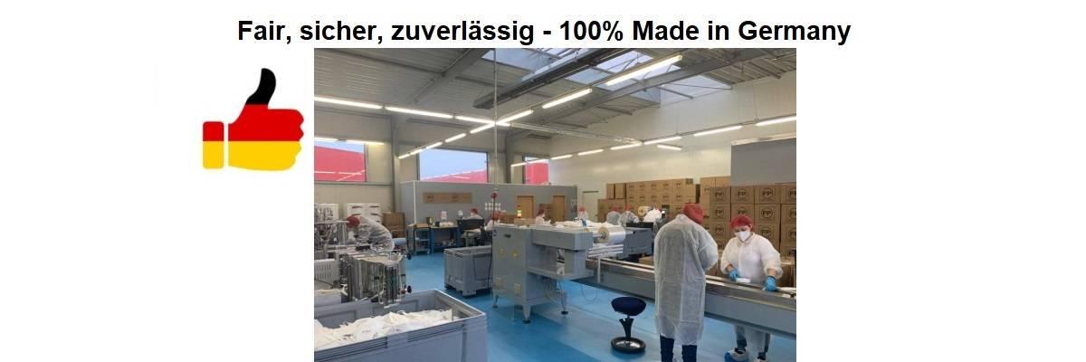 Hergestellt in Deutschland nach DIN EN 149:2001