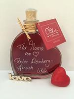 Roter Weinbergpfirsich Likör 0,2l in der Herzflasche als Geschenk