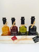 Holzkiste Gourmet Set Feinkost Wajos Essig Spezialitäten & Olivenöl je 0,25l