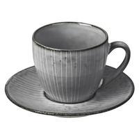 Broste Copenhagen NORDIC SEA Tasse für Kaffee oder Tee mit Unterteller