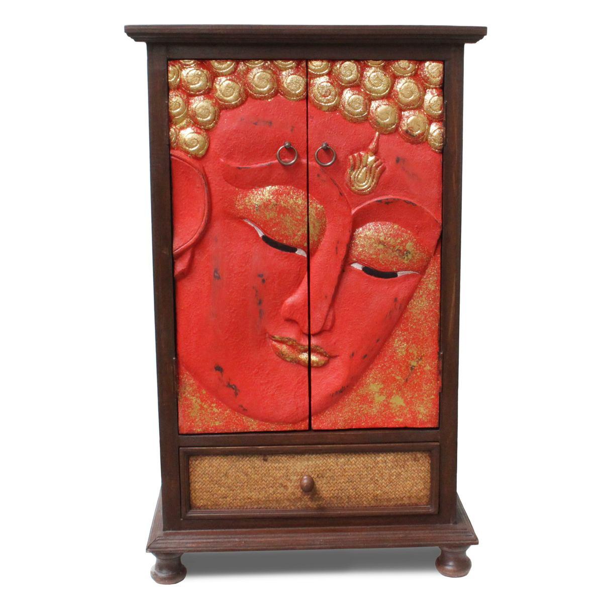 flurschrank buddha gesicht schrank kommode sideboard schubladenschrank rattan rot gold 107 cm. Black Bedroom Furniture Sets. Home Design Ideas