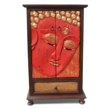 Flurschrank Buddha Gesicht Schrank Kommode Sideboard Schubladenschrank Rattan Rot Gold 107 cm