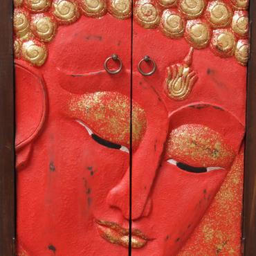 Flurschrank Buddha Gesicht Schrank Kommode Sideboard Schubladenschrank Rattan Rot Gold 107 cm – Bild 5