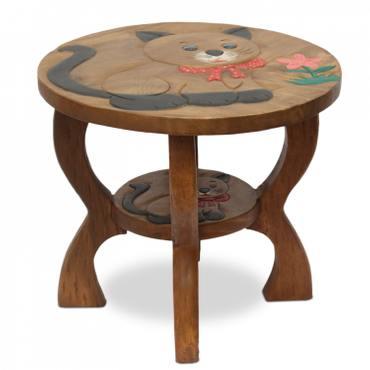 Kinder Sitzgruppe Tische und Stühle 5er Set Tischgruppe Massiv Robust Holz Katzen Motiv Braun  – Bild 2