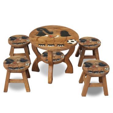 Sitzgruppe Tische und Stühle 5er Set Kinder Tischgruppe Massiv Robust Holz Elefanten Motiv Braun