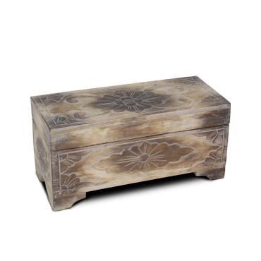 Holzkiste Deckel Truhe Aufbewahrung Palmenholz Beistelltisch Kiste Box Holztruhe Blumen Motiv Natur W/W 39cm – Bild 6