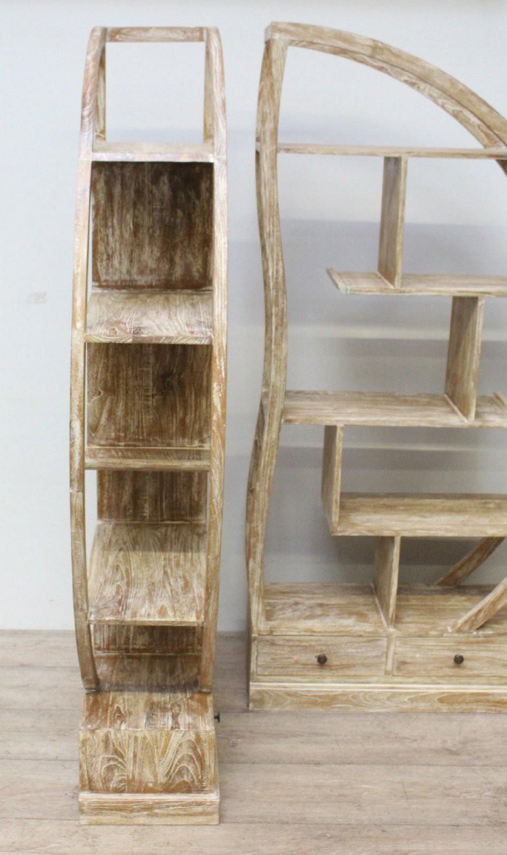 b cherregal rund 2 tlg regal teakholz raumteiler wandregal. Black Bedroom Furniture Sets. Home Design Ideas