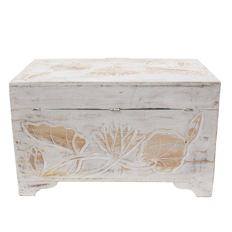 truhe holzkiste holztruhe schatztruhe kiste box palmenholz holzbox blumen schnitzereien shabby. Black Bedroom Furniture Sets. Home Design Ideas