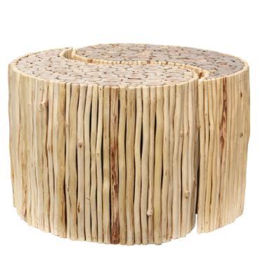 Holzhocker 2er Set Hocker Yin-Yang ca. 70cm Durchmesser & 45 cm Höhe hellbraun Holz  – Bild 1