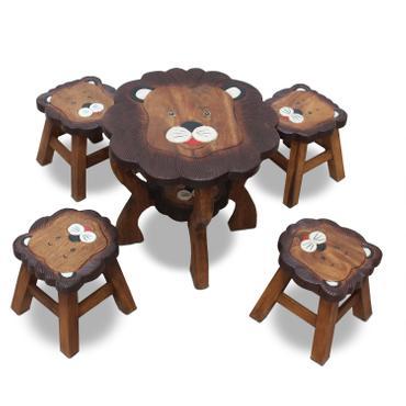 Kinder Sitzgruppe Tische und Stühle 5er Set Tischgruppe Massiv Robust Löwe (1) Motiv Holz Braun