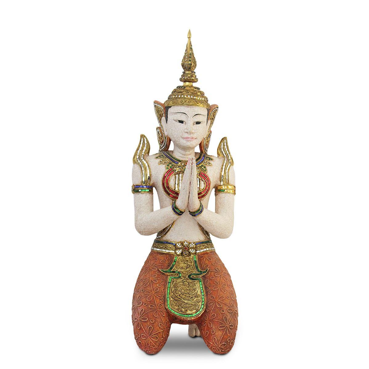 buddha buddhafigur buddhastatue buddhaskulptur tempelwachter ca 80cm hoch akazienholz holz orange weiss