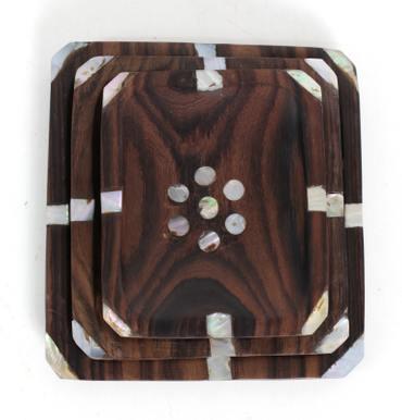 Seifenschale 3er Set Holzschale Deko Muschel Natur Dekoration Ablage Seife Holz Schale Tablett Perlmutt  – Bild 1