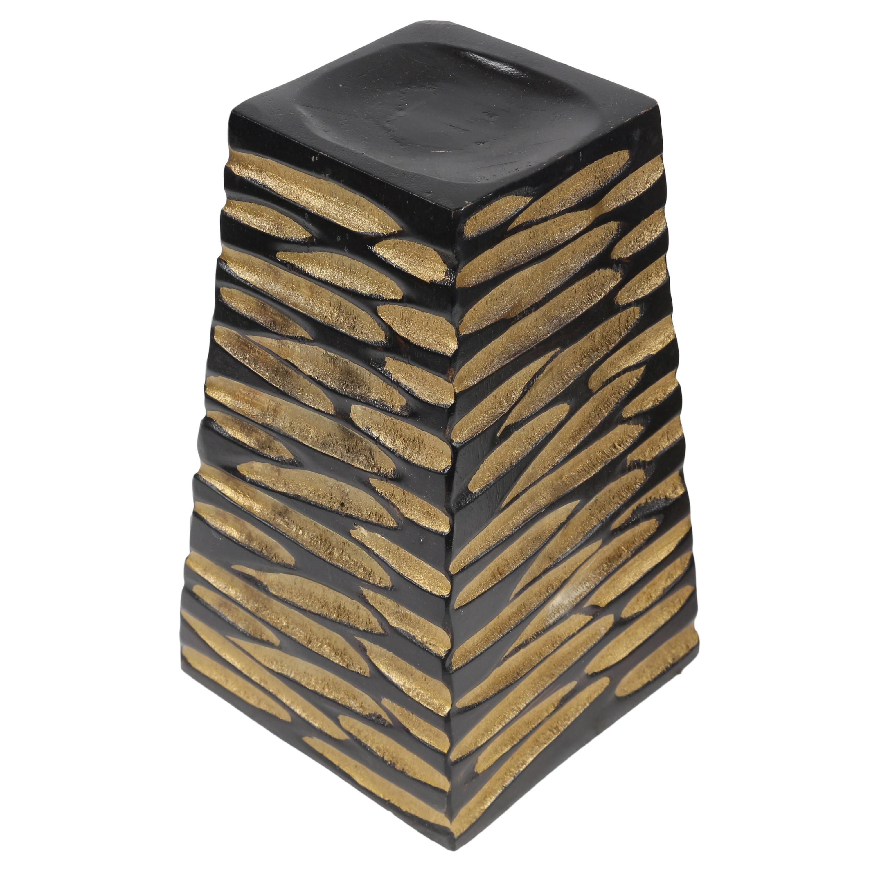 teelichthalter briefbeschwerer kerzenhalter deko mango holz teelicht thailand turm schwarz gold. Black Bedroom Furniture Sets. Home Design Ideas