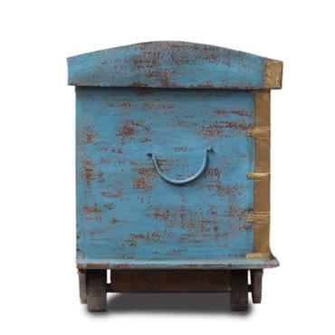 Kiste Holzkiste Box Truhe Schatztruhe Indien Holz Massiv Shabby Chic Antik 70cm Türkis Nr.2 – Bild 4