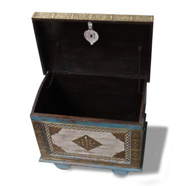 Kiste Holzkiste Box Truhe Schatztruhe Indien Holz Massiv Shabby Chic Antik 70cm Türkis Nr.2 – Bild 5