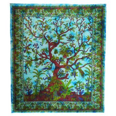Tagesdecke Lebensbaum Tree Of Life / Lebensbaum Indien Bettüberwurf Wandbehang Decke Betttuch Tischtuch Laken Picknickdecke Strandtuch ca.210x230cm – Bild 9