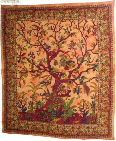 Tagesdecke Lebensbaum Tree Of Life / Lebensbaum Indien Bettüberwurf Wandbehang Decke Betttuch Tischtuch Laken Picknickdecke Strandtuch ca.210x230cm – Bild 12