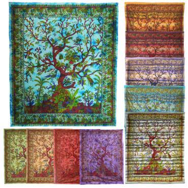 Tagesdecke Lebensbaum Tree Of Life Indien Bettüberwurf Wandbehang Decke Betttuch Tischtuch Laken Picknickdecke Strandtuch 001