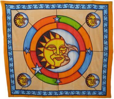 Tagesdecke Wandbehang Überwurf Decke Indien Sonne Mond Sun Moon Motiv Nr.212