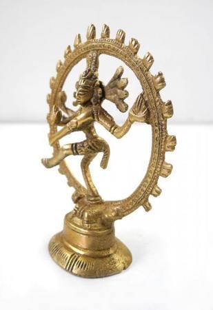 Shiva Messing Figur Skulptur Feuerkreis 9cm Messingfigur Hindu Buddha 3014 – Bild 2