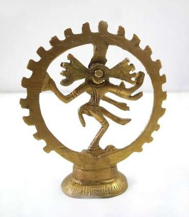 Shiva Messing Figur Skulptur Feuerkreis 9cm Messingfigur Hindu Buddha 3014 – Bild 3