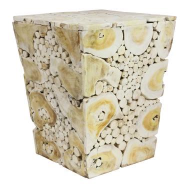 Hocker Massiv Teakholz Natur Stuhl Wurzel Block Holz Klotz Konisch Weiß 40x40cm – Bild 1